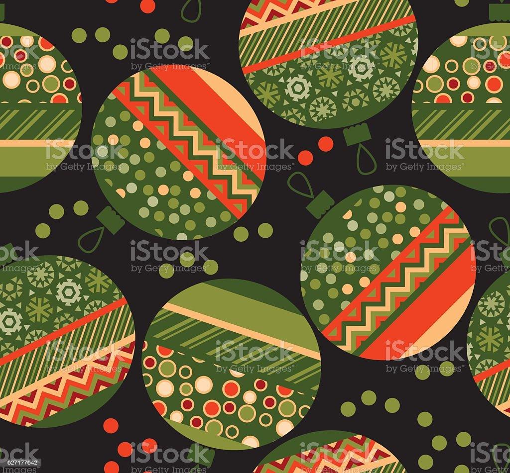 peasant ornament patchwork xmas bubbles seamless pattern. vector art illustration