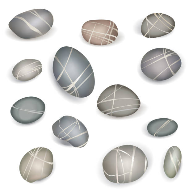 Pebbles stones set. Zen-like Design elements vector art illustration