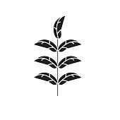 Pecan leaf black vector concept icon. Pecan leaf flat illustration, sign, symbol