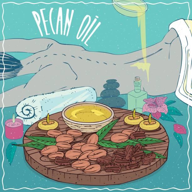 illustrazioni stock, clip art, cartoni animati e icone di tendenza di pecan oil used for body massage - china drug