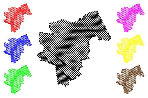 Pecs City (Hungary, Baranya County) map vector illustration, scribble sketch City of Pecs map