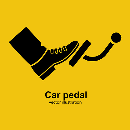 Pedal car black icon silhouette