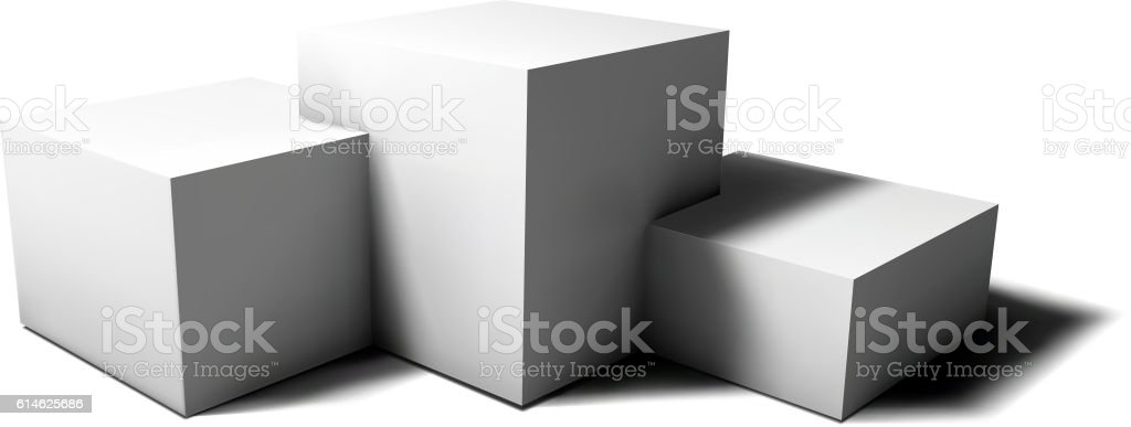 Pedestal of 3D geometric cubes isolated on white with shadow vector art illustration