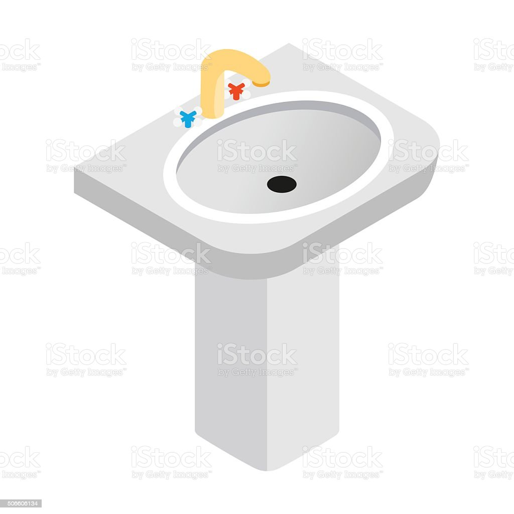 Pedestal sink with faucet isometric 3d icon vector art illustration