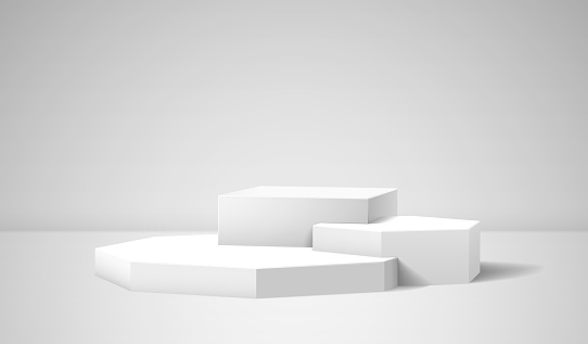 Pedestal with 3D vector cube, polygons and realistic shadow in the room