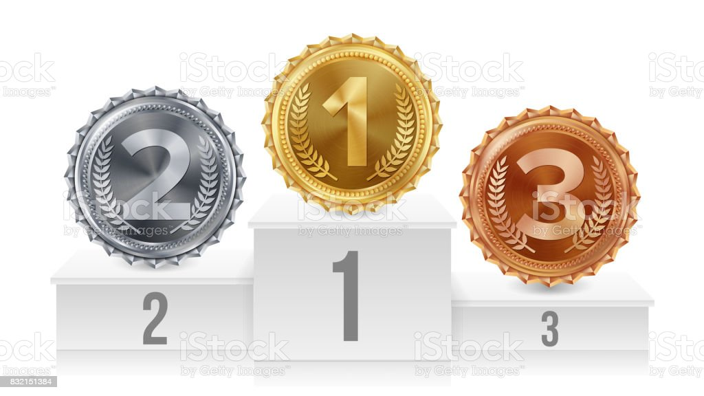 Pedestal With Gold, Silver, Bronze Medals Vector. White Winners Podium. Number One. 1st, 2nd, 3rd Placement Achievement Concept. Isolated Illustration vector art illustration