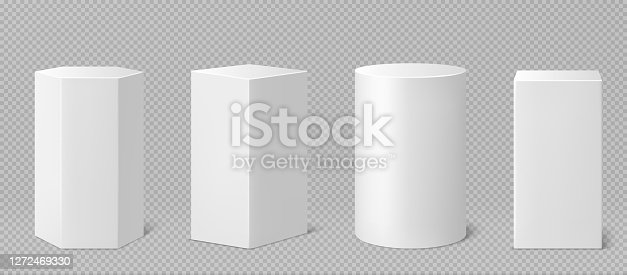 Pedestals or podium, abstract geometric empty museum stages, exhibit displays for award ceremony or product presentation. Gallery platform, geometric blank product stands, Realistic 3d vector set