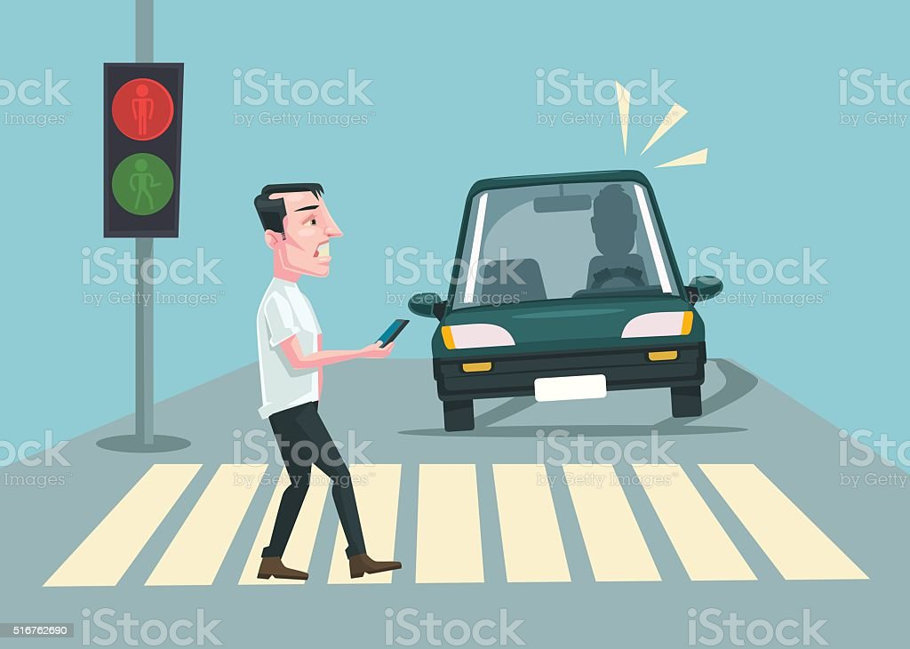 Pedestrian accident. Vector flat cartoon illustration vector art illustration