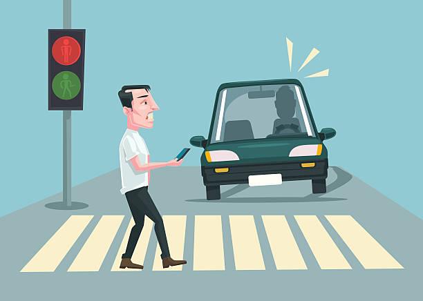 pedestrian accident. vector flat cartoon illustration - crossing stock illustrations, clip art, cartoons, & icons