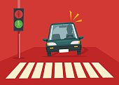 Pedestrian accident. Vector flat illustration