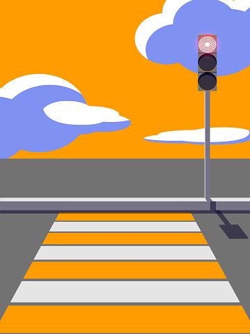 Pedestrian crossing and traffic light.