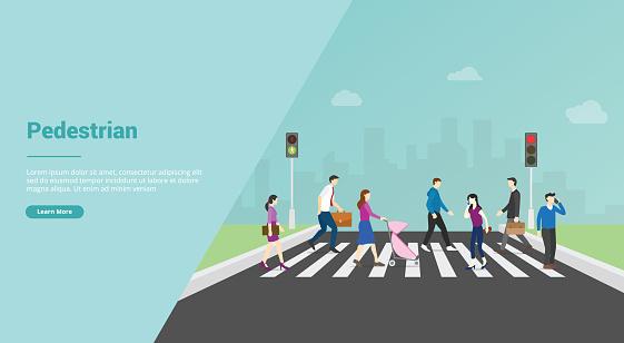 pedestrian crossing for website template or banner landing homepage - vector