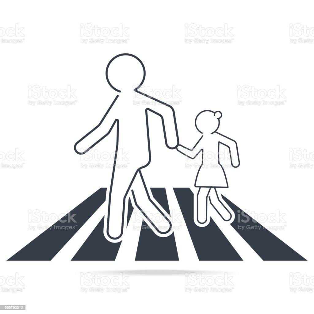 Signe du passage pour piétons, panneau de signalisation de l'école, illustration de ligne Simple. signe du passage pour piétons panneau de signalisation de lécole illustration de ligne simple vecteurs libres de droits et plus d'images vectorielles de analyser libre de droits