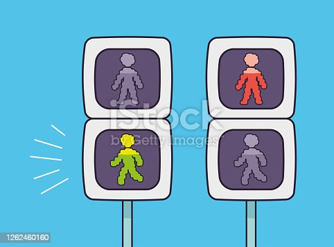 Pedestrian crossing traffic lights with green and red signal