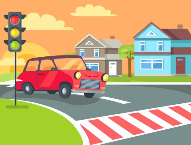 bildbanksillustrationer, clip art samt tecknat material och ikoner med övergångsställe med trafikljus på väg - walking home sunset street