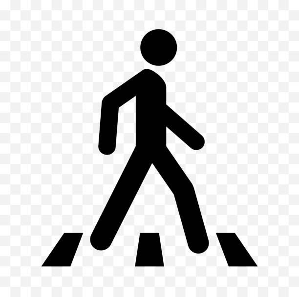 pedestrian icon - crossing stock illustrations, clip art, cartoons, & icons