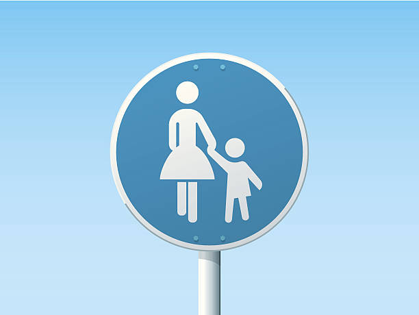 Pedestrian Lane German Road Sign Blue Vector Illustration of a german Road Sign in front of a clear blue sky: Pedestrian Lane. All objects are on separate layers. The colors in the .eps-file are ready for print (CMYK). Transparencies used. Included files: EPS (v10) and Hi-Res JPG. transportation stock illustrations