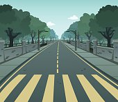 Cartoon vector of a pedestrian lane on a road