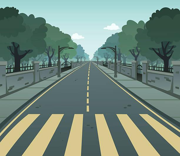 Pedestrian Lane Cartoon vector of a pedestrian lane on a road urban road stock illustrations
