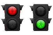 Pedestrian traffic lights. Vector illustration isolated on white background