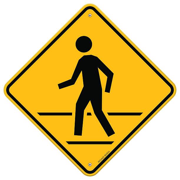pedestrian traffic sign - crossing stock illustrations, clip art, cartoons, & icons