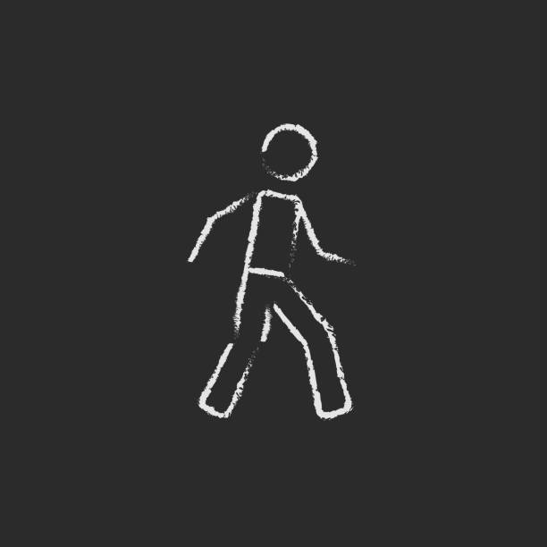 Pedestrianism icon drawn in chalk vector art illustration
