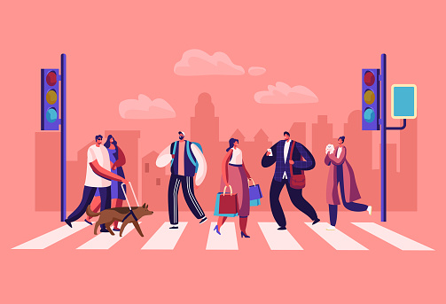 Pedestrians People Walking on City Street. Men and Women Characters Hurry at Work on Urban Background with Traffic Lights and Crosswalk Moving by Road, Lifestyle, Cartoon Flat Vector Illustration