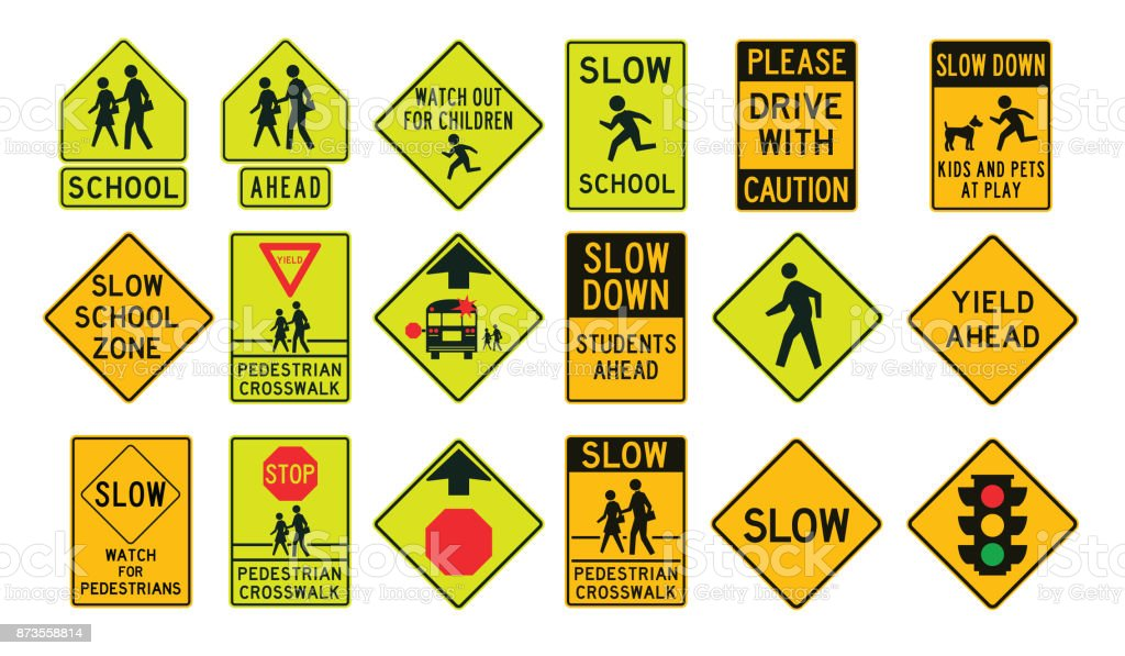Pedestrians road signs vector art illustration