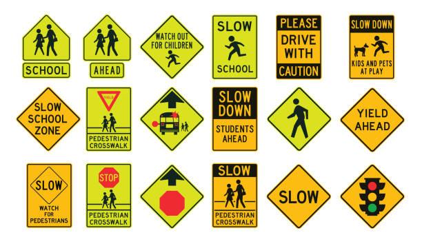 stockillustraties, clipart, cartoons en iconen met voetgangers verkeerstekens - langzaam
