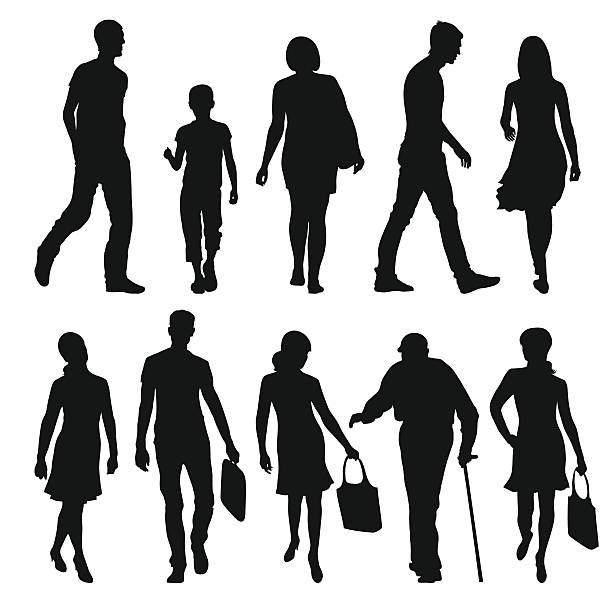 pedestrians - old man in black stock illustrations, clip art, cartoons, & icons