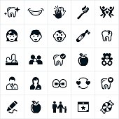 Icons related to the pediatric dentistry industry. The icons include dental equipment, teeth, dentist and other common dental related items related to dental treatement for kids or children. The icons also represent preventative and treatment measures used by dentists.
