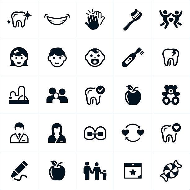 ilustrações, clipart, desenhos animados e ícones de dentista pediátrico ícones - pediatra