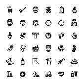 Pediatrician and Babies symbols and icons.