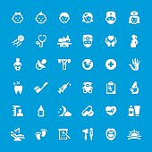 Pediatrician and Healthcare related vector icon set