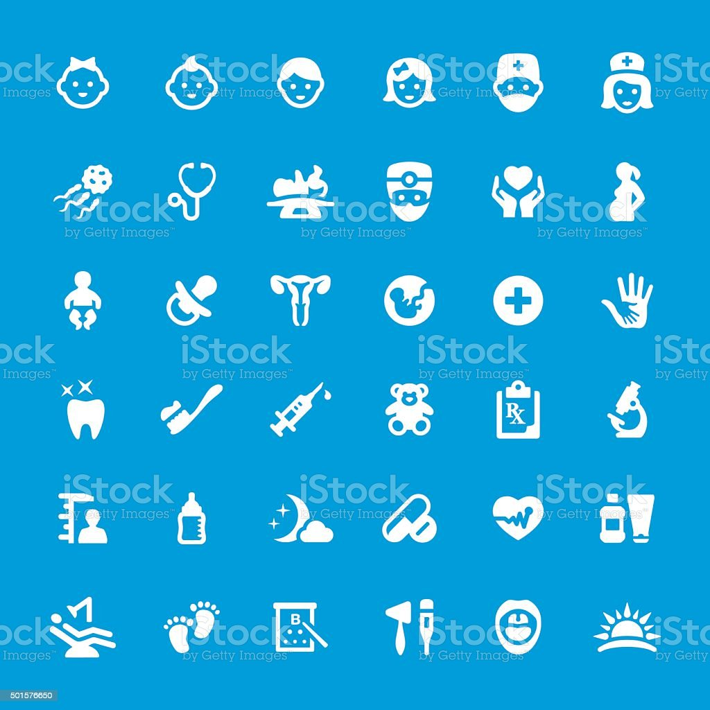 Pediatrician and Healthcare related vector icon set vector art illustration