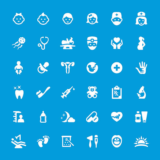 pediatrician and healthcare related vector icon set - pediatrician stock illustrations
