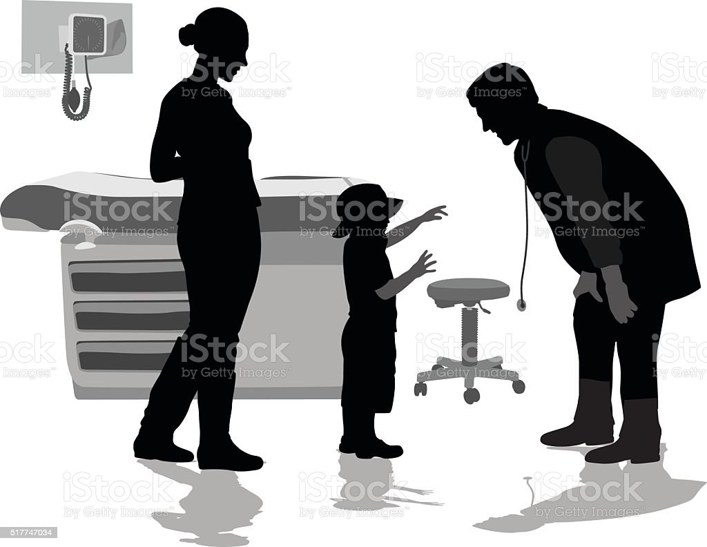 Pediatrician And Patient vector art illustration