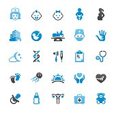 Pediatrician and Reproduction related vector icons collection. Three-color palette / Isolated on white / Quartico set #62 / transparent png-24 version 5000×5000 px included