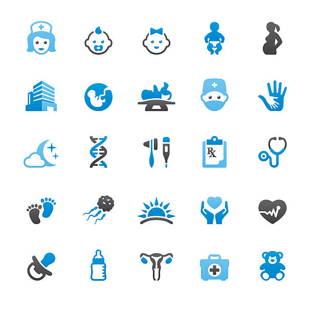 pediatrician and reproduction related vector icons - pediatrician stock illustrations