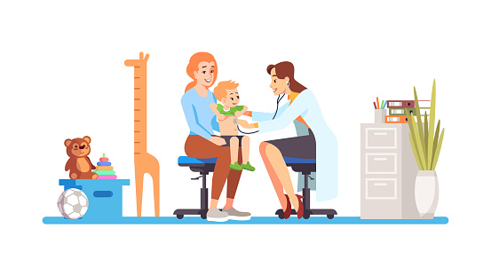 Pediatrician checking baby flat vector illustration. Doctor, mother, child isolated cartoon characters on white background. Happy kid at hospital. Regular check, exam, childcare. Medical cabinet