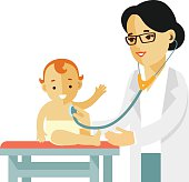 Pediatrician doctor concept. Young woman practitioner and happy child