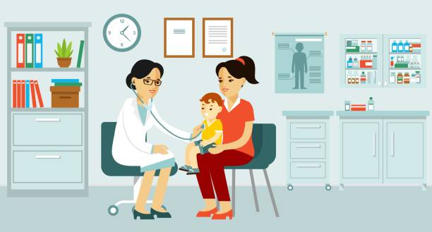 pediatrician doctor concept. young woman practitioner and happy family with mother and kid in flat style. - pediatrician stock illustrations