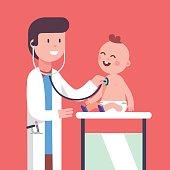 Pediatrician doctor examining little baby boy