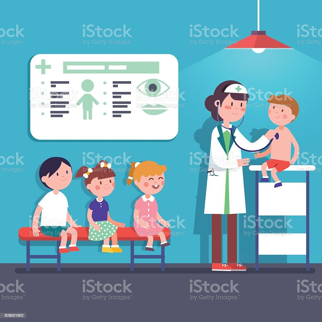 Pediatrician doctor woman examining kids vector art illustration