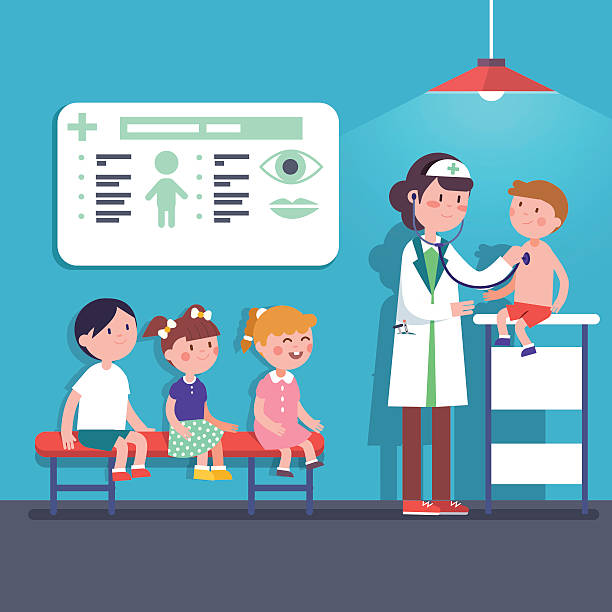 ilustrações, clipart, desenhos animados e ícones de pediatrician doctor woman examining kids - pediatra