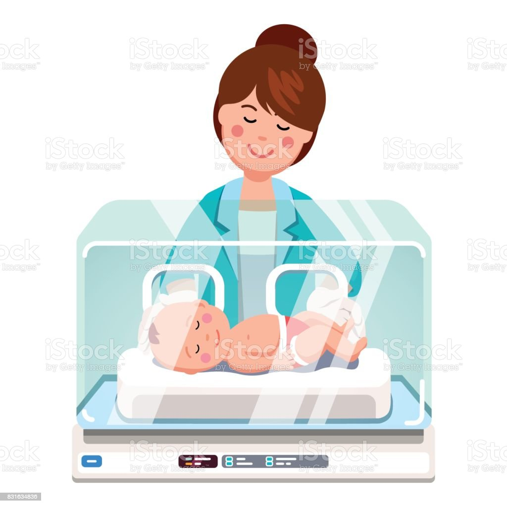 Pediatrician doctor woman examining newborn baby vector art illustration