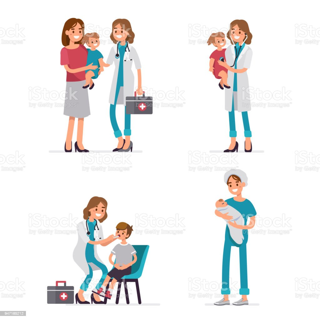 pediatrician vector art illustration