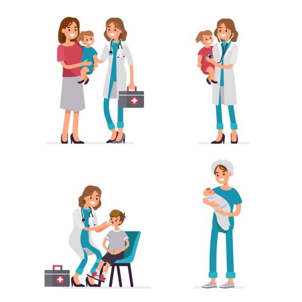 ilustrações, clipart, desenhos animados e ícones de pediatra - pediatra