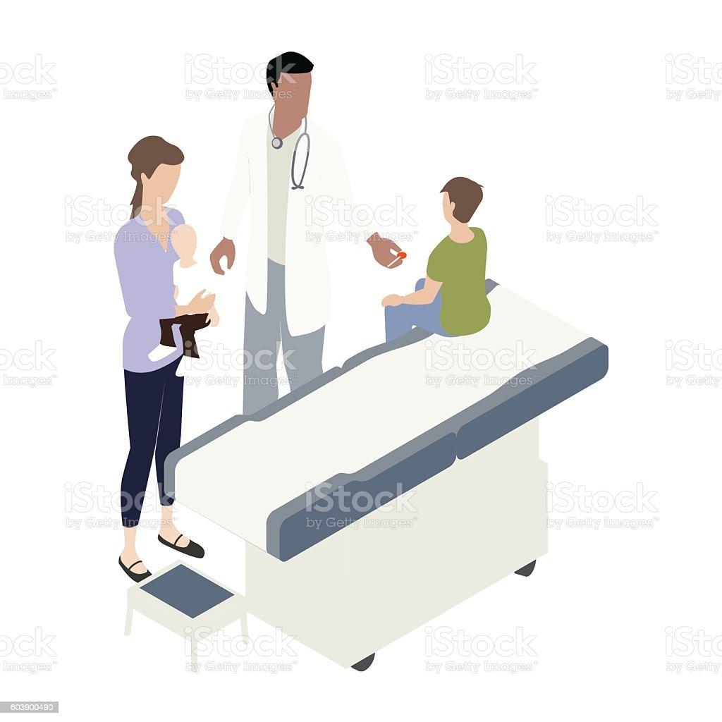 Pediatrician visit illustration vector art illustration