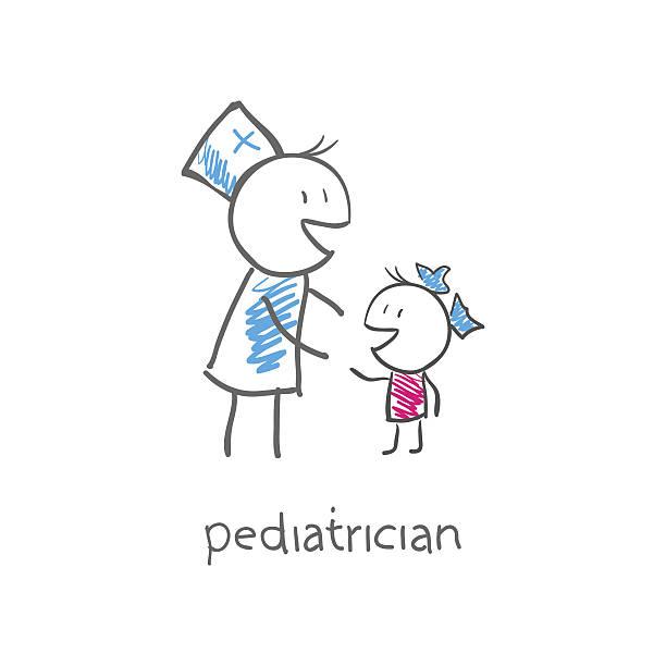 pediatrician with child vector art illustration